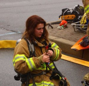 Firefighter Female on the street