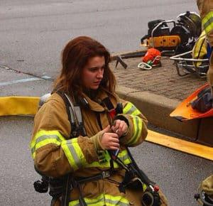 Firefighter Female on the street