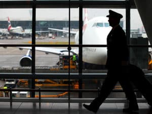 Airline Pilot walking through airport
